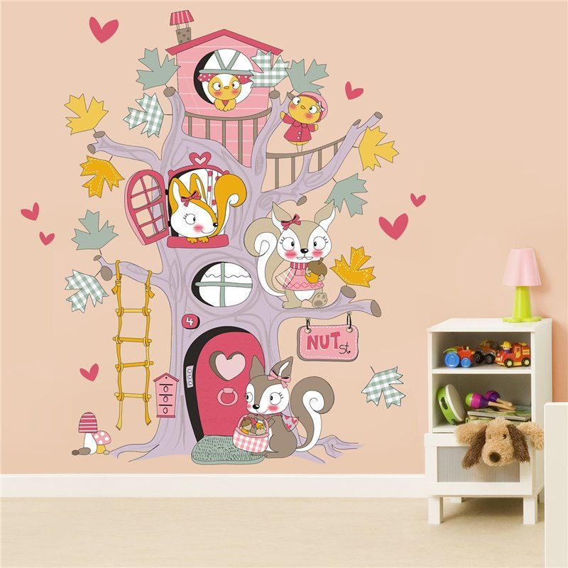 Image of   Wall sticker - Squirrel Tree House