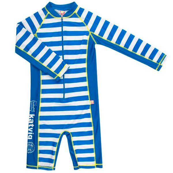 Katvig Uv heldragt fra katvig - blue / white stripe på babygear.dk